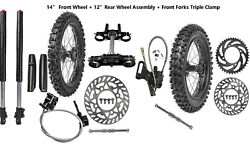 12andldquo And 14andrdquo Wheel Set Assembly 60/100-14 80/100-12 Tire Front Forks Dirt Pit Bike