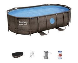 Bestway Pool Power Steel Swim Vista Series 14and039 X 8and0392 X 39.5 Oval Above Ground