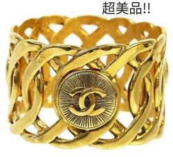 Authentic Cc Logo Wide Chain Bangle Bracelet Gold Used From Japan F/s