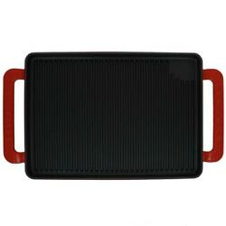 Cast Iron Grill Pan Grilling Cookware Kitchen French Enameled 9.75 Inch Red