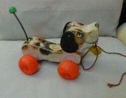 Fisher Price Vintage 1968 Little Snoopy Wood Pull Along Toy Dog- Clicks- M I Usa