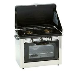 Propane Gas Range And Stove Double Burner Outdoor Cooking Built-in Oven Heat