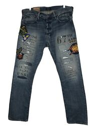 Polo Varick Slim Straight Patchwork Jeans 36x34 Actual 39x33