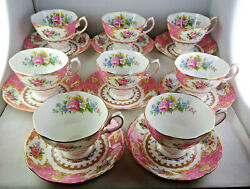 Eight Royal Albert Lady Carlyle Tea Cup And Saucer Sets Pink Floral Gold Trim