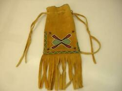 Beaded Native American Indian Bag Brain Tanned Moose Leather Fringe Pouch Old