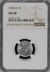 1943-d 1c Lincoln Wheat One Cent Ngc Ms68  6208919-005