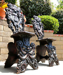 2 - Antique Medieval Hand-carved Wood Figural Gothic Gargoyle Tavern Side Chairs