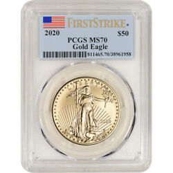 2020 American Gold Eagle 1 Oz 50 - Pcgs Ms70 First Strike