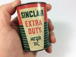 Original Metal Can Empty Gas Oil Advertising Sign Sinclair Extra Duty Coin Bank