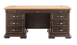 Real Wood Executive Desk With Drawers 68 X 28 Two Tone Rustic Distressed Finish