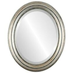 Philadelphia Framed Oval Mirror In Silver Leaf With Brown Silver/brown 27x39