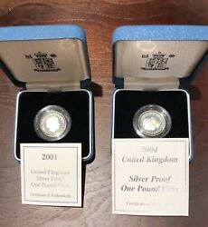 Lot Of 2 Great Britain - Uk One Pound Silver Proof - Royal Mint 2001 2004 Coa