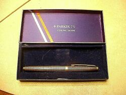 Parker 75 Sterling Silver Cisele Fountain Pen With 14kt Nib