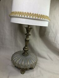 """Vintage Saucer Table Lamp Shade 42"""" Tall Gold Pattern Mcm 1970 Ef Industries"""