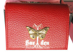 Authentic Garden Gold Red Moth Wallet Florence Italy Gift + Bag + Box New
