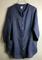 Sigrid Olsen 100 Linen Size Large Blouse Tunic Roll Tab Sleeves Blue Pockets