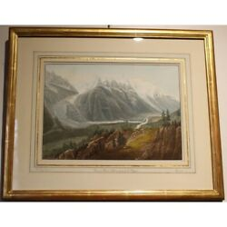 Engraving View Of Mont Blanc Taken From The Flandeacutegandegravere By Gabriel Ii Lory
