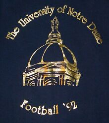 Rare Vintage 1992 Double Sided Notre Dame Football Shirt With Schedule -size Xl