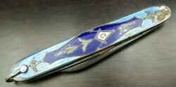 Rare Antique Voos Usa Sterling Silver And Blue Enamel Masonic Pocket Knife