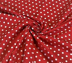 Red White Polka Dot 100% Cotton Print Fabric Craft Apparel 58quot; Wide By The Yard