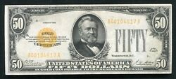 Fr. 2404 1928 50 Fifty Dollars Gold Certificate Currency Note Very Fine+