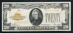 Fr. 2402 1928 20 Twenty Dollars Gold Certificate Currency Note About Unc B