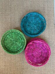 Set Of 12 Vintage Colorful Wicker Paper Plate Holders Rattan Picnic Bbq