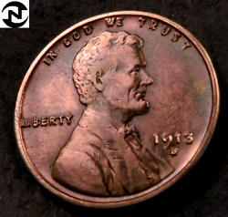 1913-s Lincoln Wheat Penny Cent // Choice Au-uncirculated Red-bn // W618
