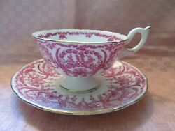 Coalport Bone China Pink/red Floral And Garlands, Footed, Tea Cup And Saucer Vgc