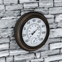 Pure Garden Wall Thermometer-decorative Indoor Outdoor Temperature And Hygromete