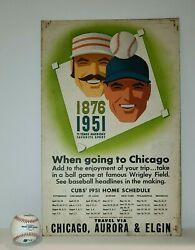 1951 Chicago Cubs Promotion Poster + Schedule - Chicago Aurora And Elgin Railroad
