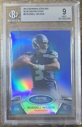 2012 Topps Bowman Sterling Russell Wilson Blue Refractor /99 Bgs 9 Mint Seahawks