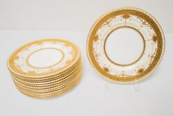 Mintons England H3655 And Co 9 Luncheon Salad Plates Set12 Gold Encrusted