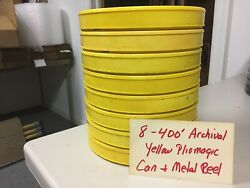 16mm Film Cans Plastic Yellow Archival 8-400and039 And Metal Reels No Labels Used