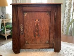 Antique Wood Stand Smoking Cigar Pipe Humidor Cabinet Mission Style Art Deco