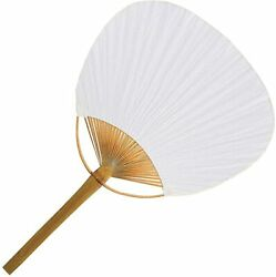 24 White Paper Paddle Hand Fans 9.5andrdquox14andrdquo Wedding Shower Party Favors