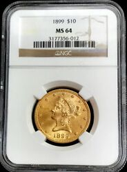 1899 Gold United States 10 Dollar Liberty Head Coin Ngc Mint State 64