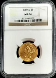 1907 D Gold United States 5 Dollar Liberty Head Half Eagle Ngc Mint State 64