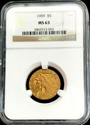 1909 Gold United States 5 Dollar Indian Head Half Eagle Ngc Mint State 63