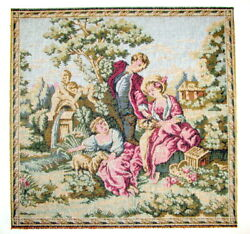 Vintage Tapestry Art Victorian French Provincial 12.5 quot;x 12.5quot; Un Framed