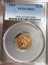1914 2.50 Indian Gold Coin Pcgs Ms63 Quarter Eagle - Better Date
