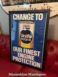 Vintage 1980andrsquos Exxon Uniflo Motor Oil Framed Poster - Gas And Oil Sign