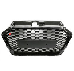 Honeycomb Mesh Rs3 Style Hex Upper Grille Gloss Black For 17-18 Audi A3 S3 8v