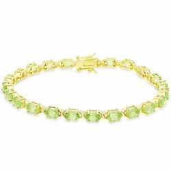 Dolce Giavonna Gold Over Sterling Silver Oval Cut Peridot Xo