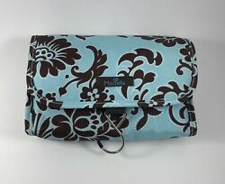 Modella Hanging Cosmetic Bag Blue Brown With Zip Compartments Bottles Loofa NEW $14.95