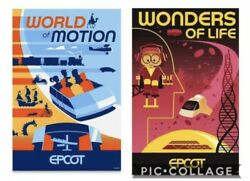 2 Epcot Serigraph Posters World Of Motion And Wonders Of Life Limited Edition