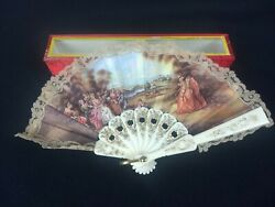 Victorian French Colonial Hand Folding Mini 5 Fan Lace Courting Scene Vintage