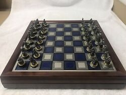 Franklin Mint 1983 Civil War Chess Set Pewter/brass Blue And Gray Pieces