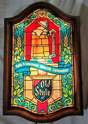 Rare Old Style Beer Lighted Sign Faux Stained Glass Vintage Heilemans