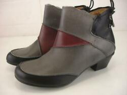 Women's Sz 7 M Aetrex Samantha Ankle Boots Red Grey Black Leather Dress Side Zip
